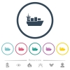 Sea transport flat color icons in round outlines. 6 bonus icons included. - Sea transport flat color icons in round outlines