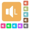 Left audio channel flat icons on rounded square vivid color backgrounds. - Left audio channel rounded square flat icons