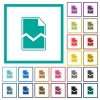 Broken page flat color icons with quadrant frames - Broken page flat color icons with quadrant frames on white background