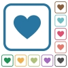 Heart card symbol simple icons - Heart card symbol simple icons in color rounded square frames on white background