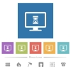 Busy computer flat white icons in square backgrounds - Busy computer flat white icons in square backgrounds. 6 bonus icons included.