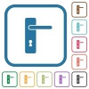Right handed simple door handle simple icons - Right handed simple door handle simple icons in color rounded square frames on white background
