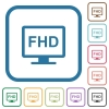 Full HD display simple icons in color rounded square frames on white background - Full HD display simple icons