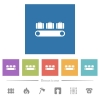 Luggage conveyor flat white icons in square backgrounds - Luggage conveyor flat white icons in square backgrounds. 6 bonus icons included.