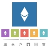 Ethereum digital cryptocurrency flat white icons in square backgrounds - Ethereum digital cryptocurrency flat white icons in square backgrounds. 6 bonus icons included.