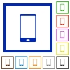 Modern mobile phone with one button flat framed icons - Modern mobile phone with one button flat color icons in square frames on white background