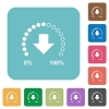 Download in progress rounded square flat icons - Download in progress white flat icons on color rounded square backgrounds