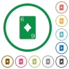 Six of diamonds card flat icons with outlines - Six of diamonds card flat color icons in round outlines on white background