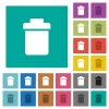 Single trash square flat multi colored icons - Single trash multi colored flat icons on plain square backgrounds. Included white and darker icon variations for hover or active effects.
