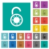 Unlocked round combination lock square flat multi colored icons - Unlocked round combination lock multi colored flat icons on plain square backgrounds. Included white and darker icon variations for hover or active effects.