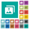 Download multiple images square flat multi colored icons - Download multiple images multi colored flat icons on plain square backgrounds. Included white and darker icon variations for hover or active effects.