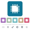 Computer processor white flat icons on color rounded square backgrounds. 6 bonus icons included - Computer processor flat icons on color rounded square backgrounds
