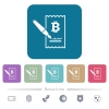 Signing Bitcoin cheque flat icons on color rounded square backgrounds - Signing Bitcoin cheque white flat icons on color rounded square backgrounds. 6 bonus icons included