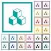 Cubes flat color icons with quadrant frames - Cubes flat color icons with quadrant frames on white background