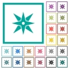 Compass flat color icons with quadrant frames - Compass flat color icons with quadrant frames on white background
