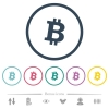Bitcoin digital cryptocurrency flat color icons in round outlines - Bitcoin digital cryptocurrency flat color icons in round outlines. 6 bonus icons included.