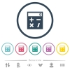 Pocket calculator flat color icons in round outlines - Pocket calculator flat color icons in round outlines. 6 bonus icons included.