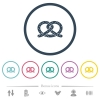 Salted pretzel flat color icons in round outlines - Salted pretzel flat color icons in round outlines. 6 bonus icons included.