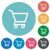 Empty shopping cart flat round icons - Empty shopping cart flat white icons on round color backgrounds