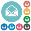 Open mail flat round icons - Open mail flat white icons on round color backgrounds
