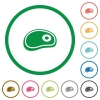 Steak flat icons with outlines - Steak flat color icons in round outlines on white background