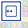 Move object left flat framed icons - Move object left flat color icons in square frames on white background
