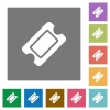 Single ticket square flat icons - Single ticket flat icons on simple color square backgrounds