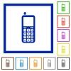 Retro mobile phone flat framed icons - Retro mobile phone flat color icons in square frames on white background