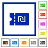 New Shekel discount coupon flat framed icons - New Shekel discount coupon flat color icons in square frames on white background