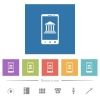 Mobile banking flat white icons in square backgrounds - Mobile banking flat white icons in square backgrounds. 6 bonus icons included.