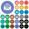 Open mail with email symbol round flat multi colored icons - Open mail with email symbol multi colored flat icons on round backgrounds. Included white, light and dark icon variations for hover and active status effects, and bonus shades.