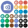 Monochrome photos round flat multi colored icons - Monochrome photos multi colored flat icons on round backgrounds. Included white, light and dark icon variations for hover and active status effects, and bonus shades.