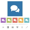 Discussion flat white icons in square backgrounds. 6 bonus icons included. - Discussion flat white icons in square backgrounds