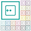 Move object left flat color icons with quadrant frames - Move object left flat color icons with quadrant frames on white background
