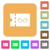 Optician shop discount coupon rounded square flat icons - Optician shop discount coupon flat icons on rounded square vivid color backgrounds.