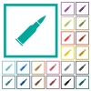 Bullet rifle ammo flat color icons with quadrant frames - Bullet rifle ammo flat color icons with quadrant frames on white background