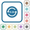 24 hours sticker with arrows simple icons - 24 hours sticker with arrows simple icons in color rounded square frames on white background