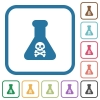 Dangerous chemical experiment simple icons - Dangerous chemical experiment simple icons in color rounded square frames on white background