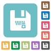 Zipped file rounded square flat icons - Zipped file white flat icons on color rounded square backgrounds