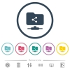 FTP share flat color icons in round outlines - FTP share flat color icons in round outlines. 6 bonus icons included.