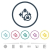 Size lock flat color icons in round outlines - Size lock flat color icons in round outlines. 6 bonus icons included.