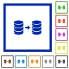 Database mirroring flat framed icons - Database mirroring flat color icons in square frames on white background