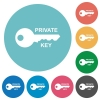 Private key flat round icons - Private key flat white icons on round color backgrounds