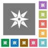 Compass square flat icons - Compass flat icons on simple color square backgrounds