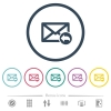 Reply mail flat color icons in round outlines. 6 bonus icons included. - Reply mail flat color icons in round outlines