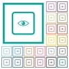 Preview object flat color icons with quadrant frames - Preview object flat color icons with quadrant frames on white background