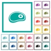 Steak flat color icons with quadrant frames - Steak flat color icons with quadrant frames on white background