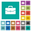 Satchel with one buckle square flat multi colored icons - Satchel with one buckle multi colored flat icons on plain square backgrounds. Included white and darker icon variations for hover or active effects.