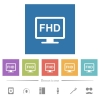 Full HD display flat white icons in square backgrounds. 6 bonus icons included. - Full HD display flat white icons in square backgrounds