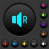 Right audio channel dark push buttons with color icons - Right audio channel dark push buttons with vivid color icons on dark grey background